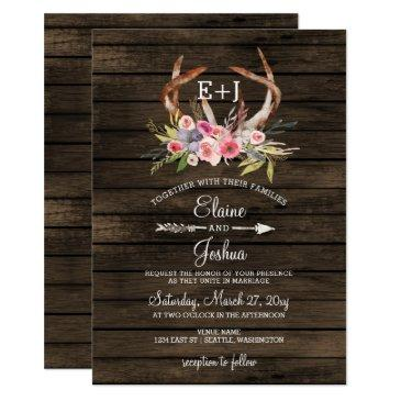 blooming antlers country chic wedding invitation
