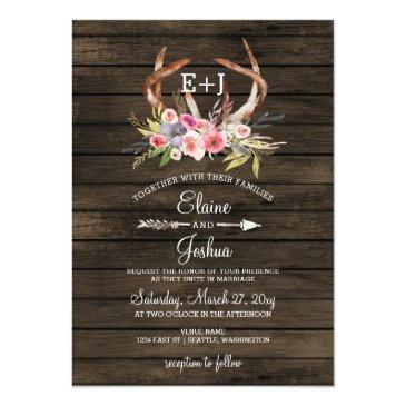 Small Blooming Antlers Country Chic Wedding Front View