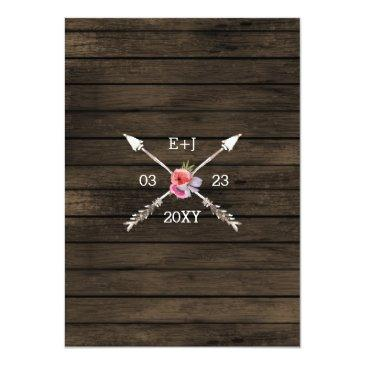 Small Blooming Antlers Country Chic Wedding Invitations Back View