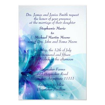 blue and purple floral design wedding