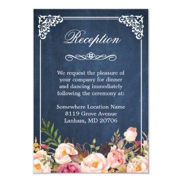 blue chalkboard rustic floral wedding reception