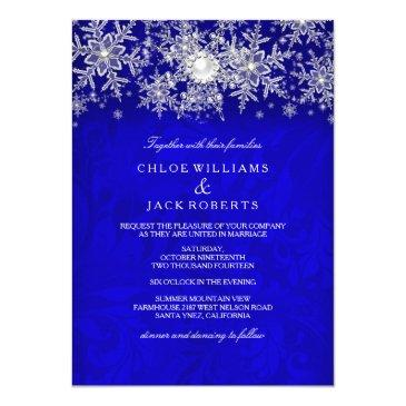 blue crystal pearl snowflake silver winter wedding