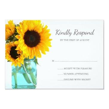 blue mason jar sunflowers wedding rsvp