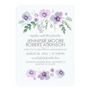 blue purple watercolor flowers wedding