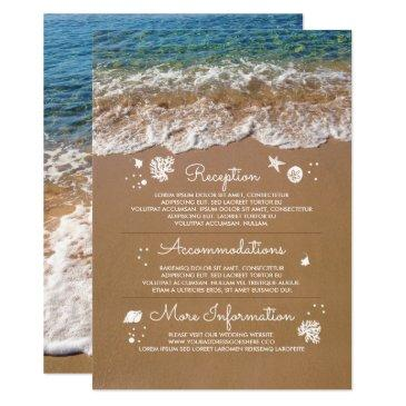 blue sea waves and sand beach wedding information