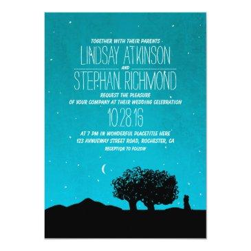 blue starry night trees and couple wedding invite