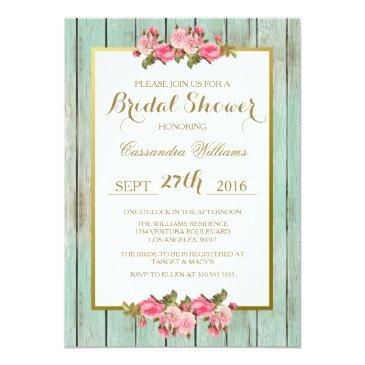 Small Blush And Mint - Bridal Shower Floral Invitation Front View