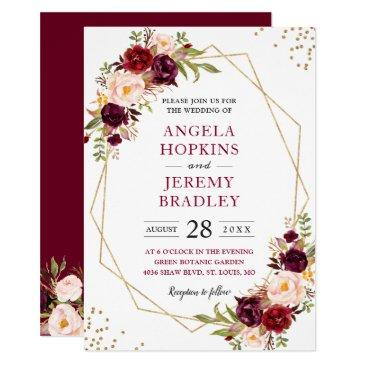 blush burgundy floral modern gold frame wedding