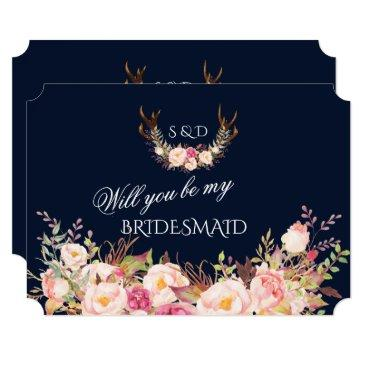blush floral antlers will you be my bridesmaid