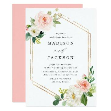 blush florals | gold frame wedding