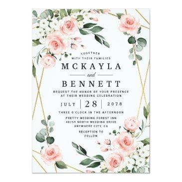 Small Blush Pink Gold And White Floral Greenery Wedding Invitation Front View