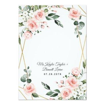 Small Blush Pink Gold And White Floral Greenery Wedding Invitation Back View
