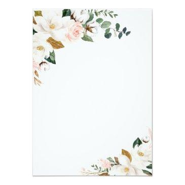 Small Blush Pink Gold And White Magnolia Floral Wedding Invitation Back View