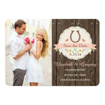 blush pink western horseshoe save the date