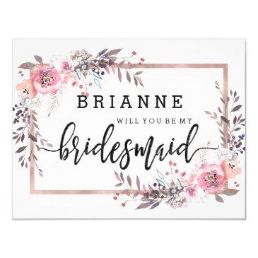 blush & rose gold framed will you be my bridesmaid