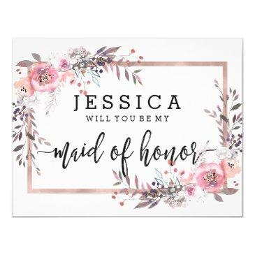 blush & rose gold will you be my maid of honor
