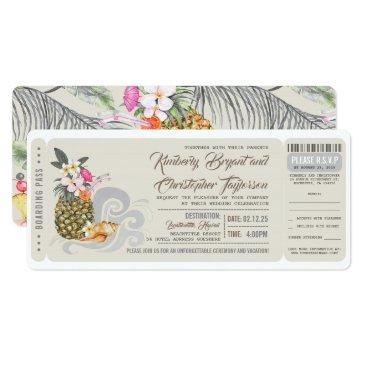 boarding pass | beach pineapple | wedding ticket