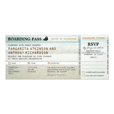 boarding pass beach waves wedding invites & rsvp