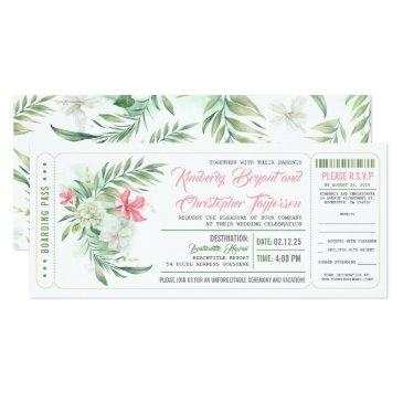boarding pass | floral beach | wedding ticket invitation