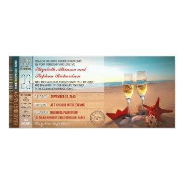 boarding pass tickets modern beach wedding