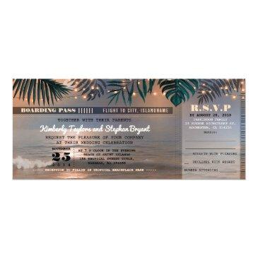 boarding pass tropical beach lights wedding ticket invitations