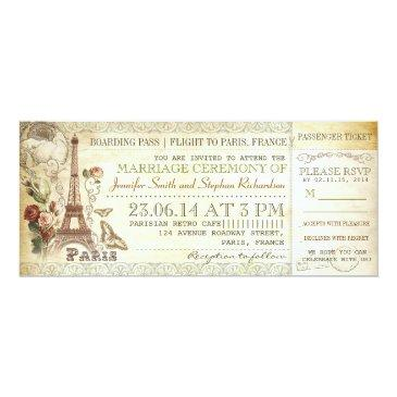 boarding pass wedding tickets to paris