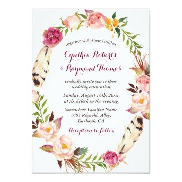Small Bohemian Boho Floral Wreath Wedding Invitations Front View