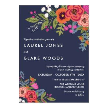 Small Bohemian Bouquet - Navy Blue & Coral Wedding Invitation Front View