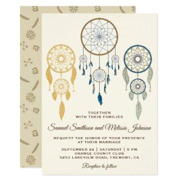bohemian dream catcher tribal wedding invitation
