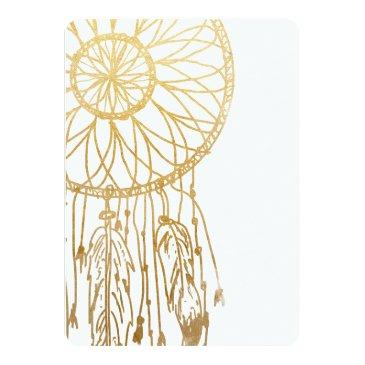 Small Bohemian Dreamcatcher Faux Gold Foil Save The Date Invitationss Back View