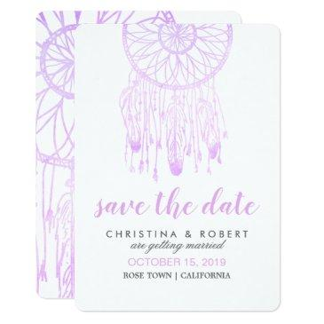bohemian dreamcatcher lavender save the date
