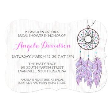Small Bohemian Dreamcatcher Rustic Wedding Bridal Shower Invitationss Front View
