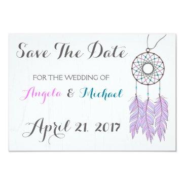 bohemian dreamcatcher rustic wedding save the date