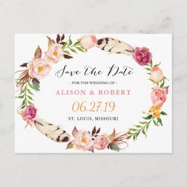 bohemian feather boho floral wreath save the date announcement postinvitationss