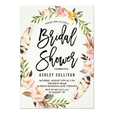 Small Bohemian Feathers And Floral Wreath Bridal Shower Invitationss Front View