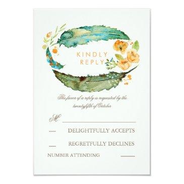 bohemian feathers teal wedding rsvp