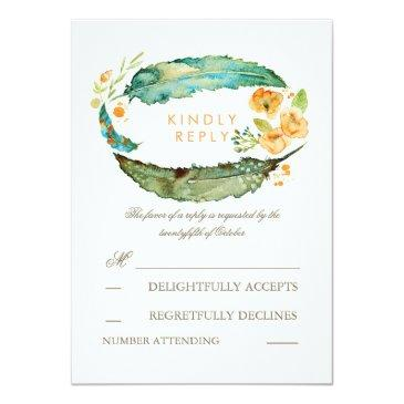 Small Bohemian Feathers Teal Wedding Rsvp Invitationss Front View