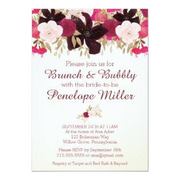 Small Bohemian Floral Brunch And Bubbly Invitation Front View