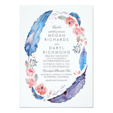 Small Bohemian Floral Feathers Rustic Wedding Invitation Front View