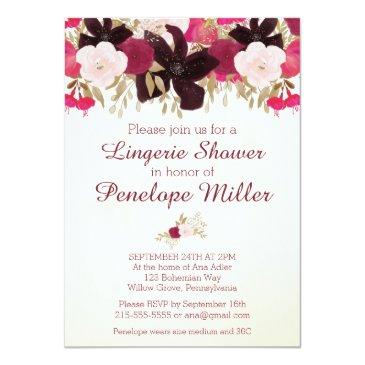 Small Bohemian Floral Lingerie Shower Invitations Front View