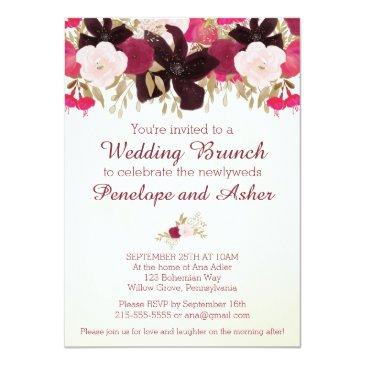 Small Bohemian Floral Post Wedding Brunch Invitations Front View