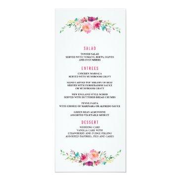Small Bohemian Floral Wedding Dinner Menu Invitation Front View