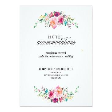 Small Bohemian Floral Wedding Hotel Invitationss Front View