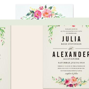 Small Bohemian Floral Wedding Invitation Front View
