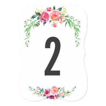 Small Bohemian Floral Wedding Table Number Front View