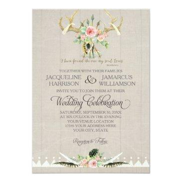 boho bohemian tribal deer antler feathers rose art invitations
