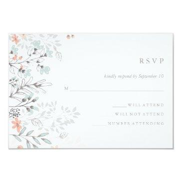 boho botanical rustic wedding coral and gray rsvp