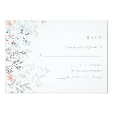 Small Boho Botanical Rustic Wedding Coral And Gray Rsvp Invitation Front View