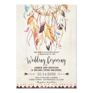 Small Boho Chic Tribal Dreamcatcher Wedding Invitationss Front View