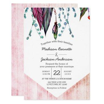 boho dream catcher & feathers wedding invitations